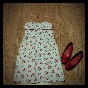 Spaghetti strap Cherry print dress